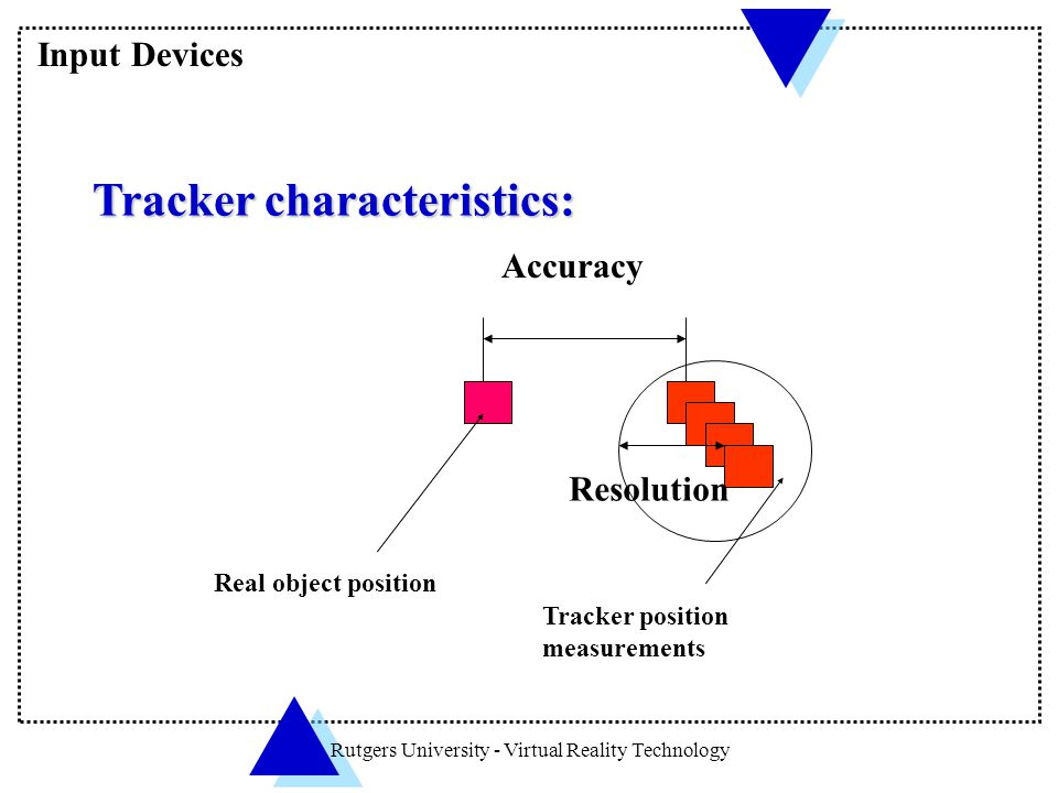 Rutgers University - Virtual Reality Technology Tracker characteristics: Tracker characteristics: Real object position Accuracy Resolution Tracker pos