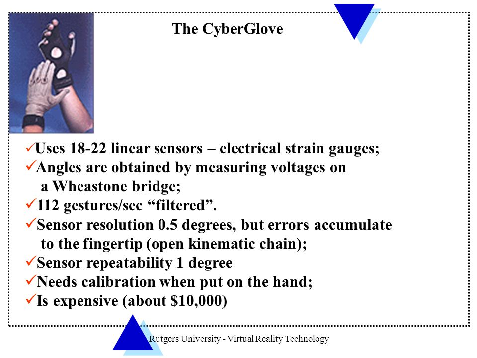 Rutgers University - Virtual Reality Technology The CyberGlove Uses 18-22 linear sensors – electrical strain gauges; Angles are obtained by measuring