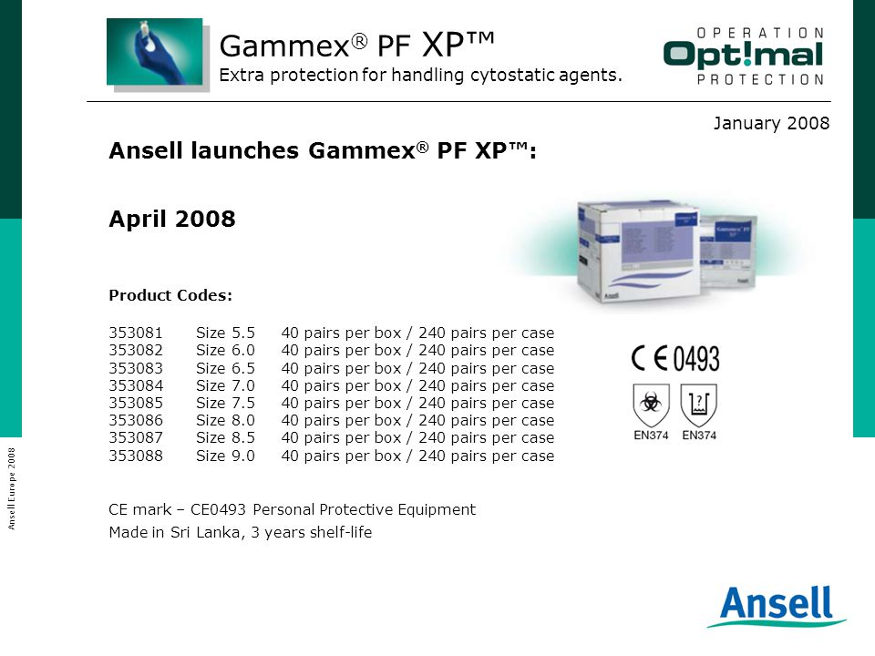 January 2008 Ansell Europe 2008 Product Codes: 353081Size 5.5 40 pairs per box / 240 pairs per case 353082Size 6.0 40 pairs per box / 240 pairs per ca