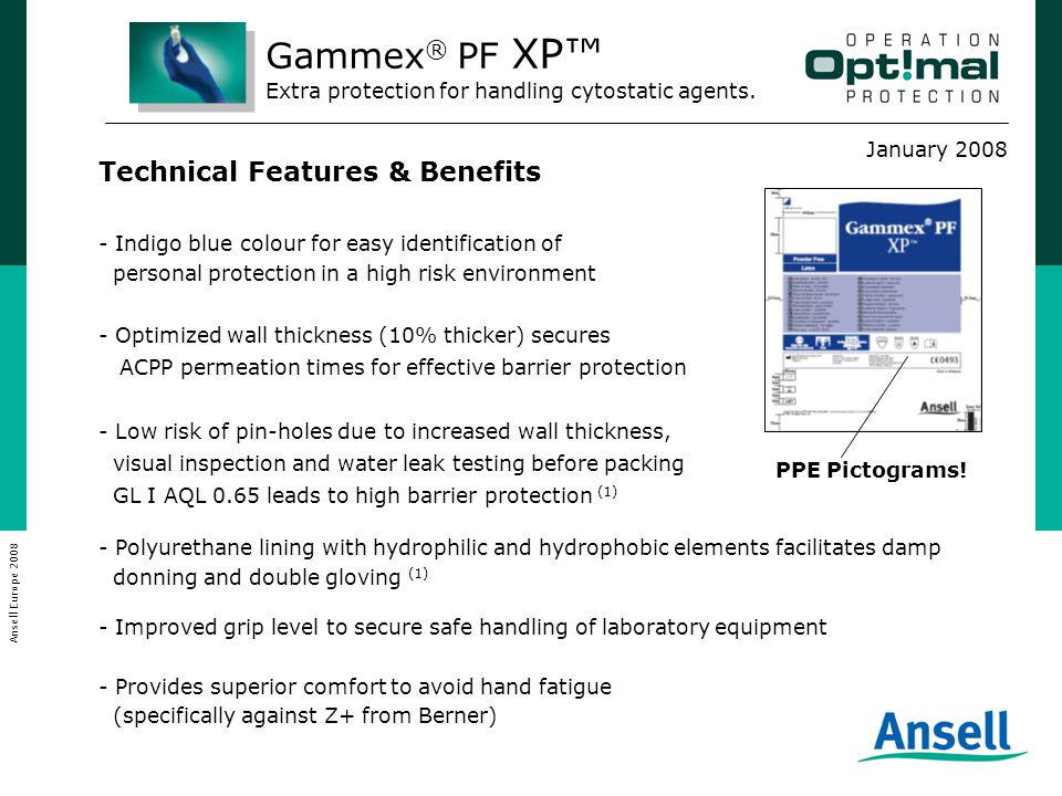 January 2008 Ansell Europe 2008 Promotion Mix / Launch Pack  Product Leaflet  Technical Datasheet  How to prepare cytostatic drugs safely  Updated ACPP Brochure  Press release  Give-a-way On-line support:  Web-Site (New banner)  In Touch Newsletter  e-mail alert Gammex ® PF XP™ Extra protection for handling cytostatic agents.