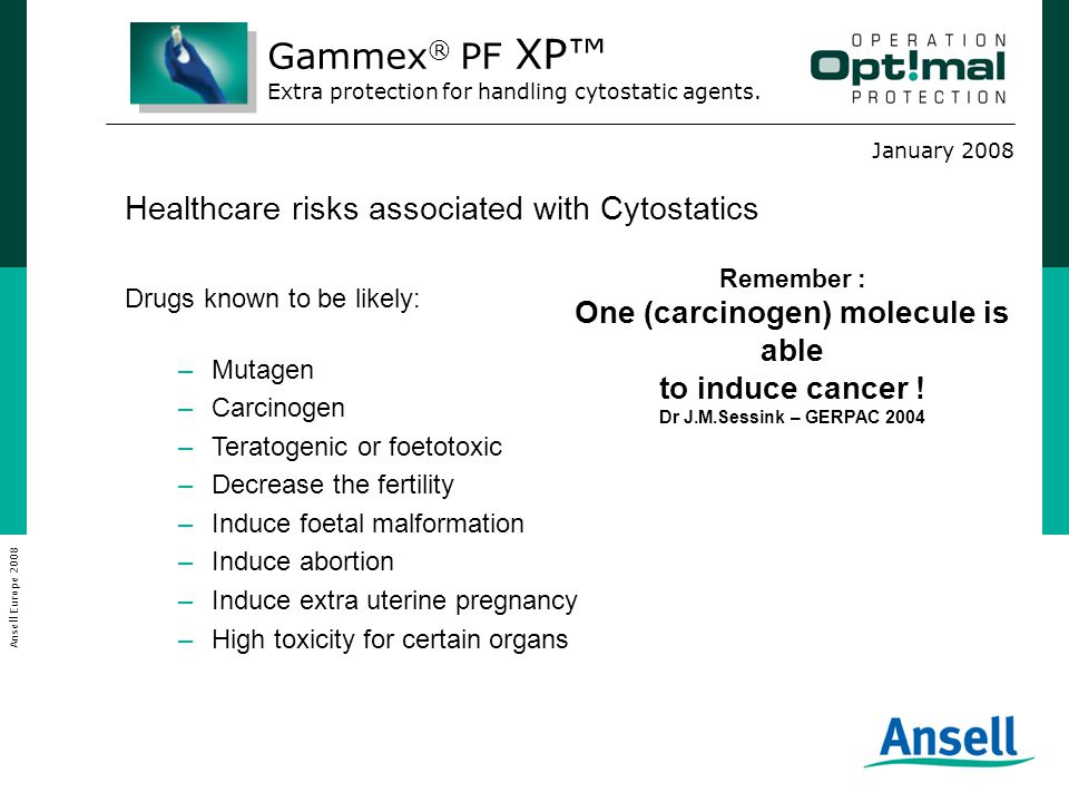 January 2008 Ansell Europe 2008 Healthcare risks associated with Cytostatics Drugs known to be likely: –Mutagen –Carcinogen –Teratogenic or foetotoxic –Decrease the fertility –Induce foetal malformation –Induce abortion –Induce extra uterine pregnancy –High toxicity for certain organs Remember : One (carcinogen) molecule is able to induce cancer .