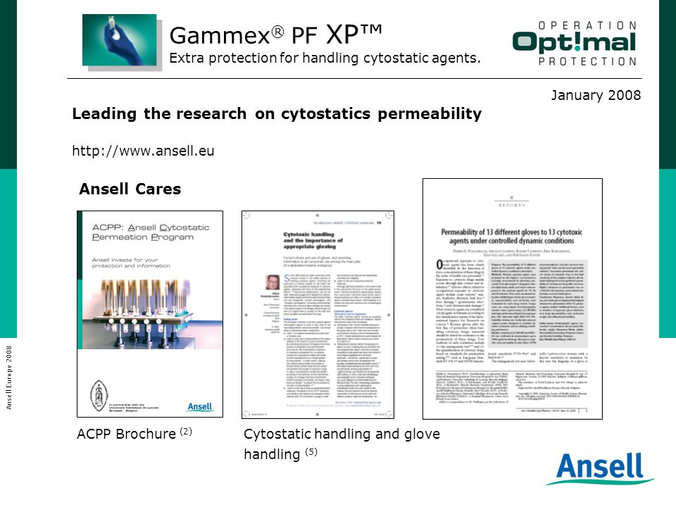 January 2008 Ansell Europe 2008 Leading the research on cytostatics permeability http://www.ansell.eu ACPP Brochure (2) Cytostatic handling and glove