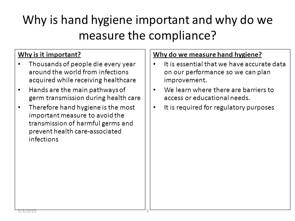 5/3/20153 Why is hand hygiene important and why do we measure the compliance? Why is it important? Thousands of people die every year around the world