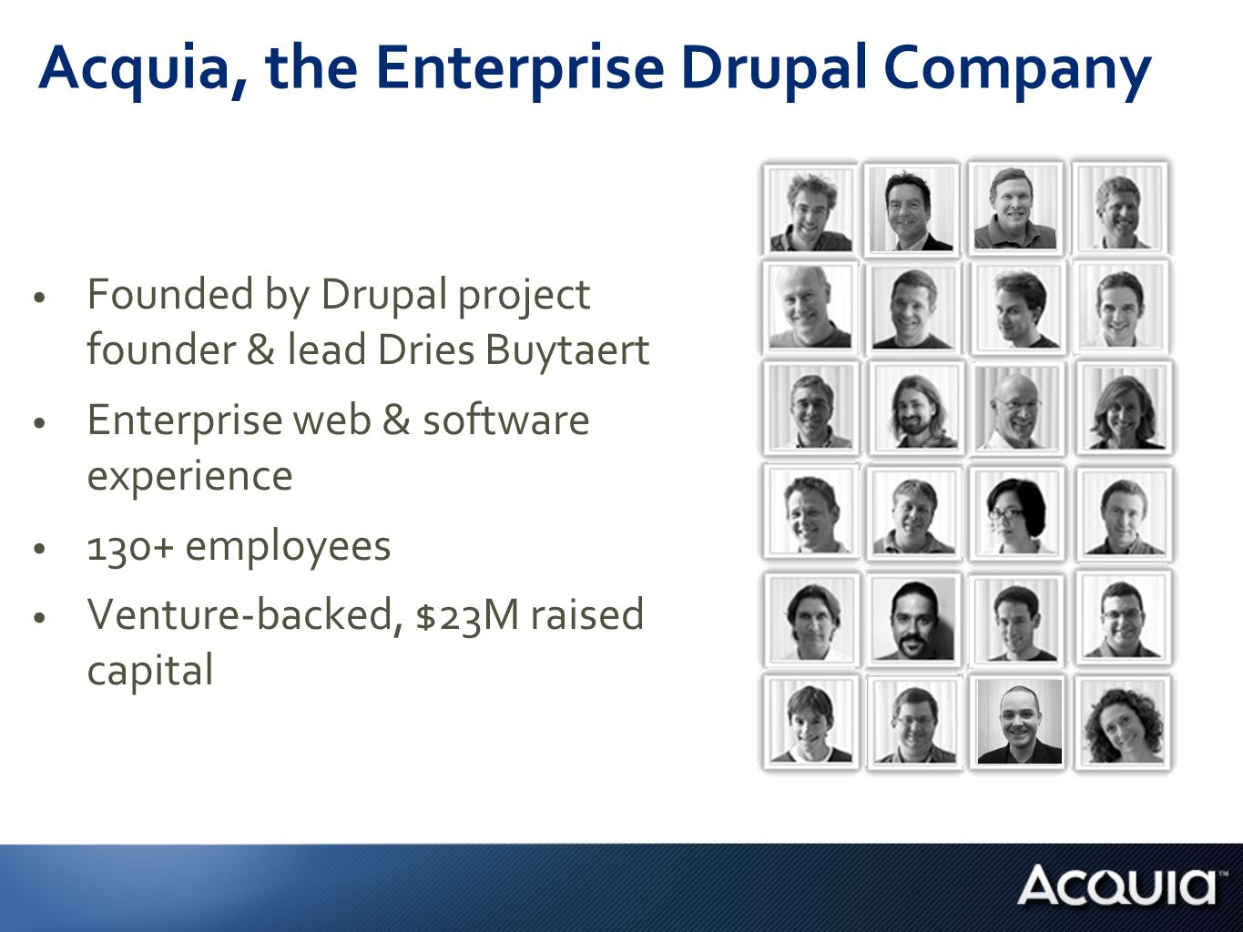 World's Best Collection of Drupal Expertise of the top 20 Drupal 7 contributors employees on the Drupal security team employee-maintained Drupal modules code commits to Drupal community modules co-maintained by Acquia's Gábor Hojtsy and Angie Byron 5 7 150+ 45,000+ Drupal 6 & 7 [] [] [] [] []