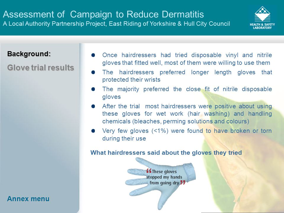 Assessment of Campaign to Reduce Dermatitis A Local Authority Partnership Project, East Riding of Yorkshire & Hull City CouncilBackground: Glove trial results Once hairdressers had tried disposable vinyl and nitrile gloves that fitted well, most of them were willing to use them The hairdressers preferred longer length gloves that protected their wrists The majority preferred the close fit of nitrile disposable gloves After the trial most hairdressers were positive about using these gloves for wet work (hair washing) and handling chemicals (bleaches, perming solutions and colours) Very few gloves (<1%) were found to have broken or torn during their use What hairdressers said about the gloves they tried Annex menu Annex menu