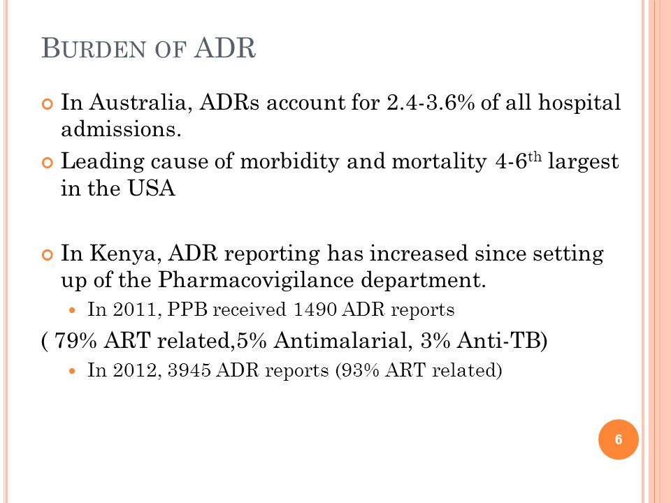 B URDEN OF ADR In Australia, ADRs account for 2.4-3.6% of all hospital admissions.