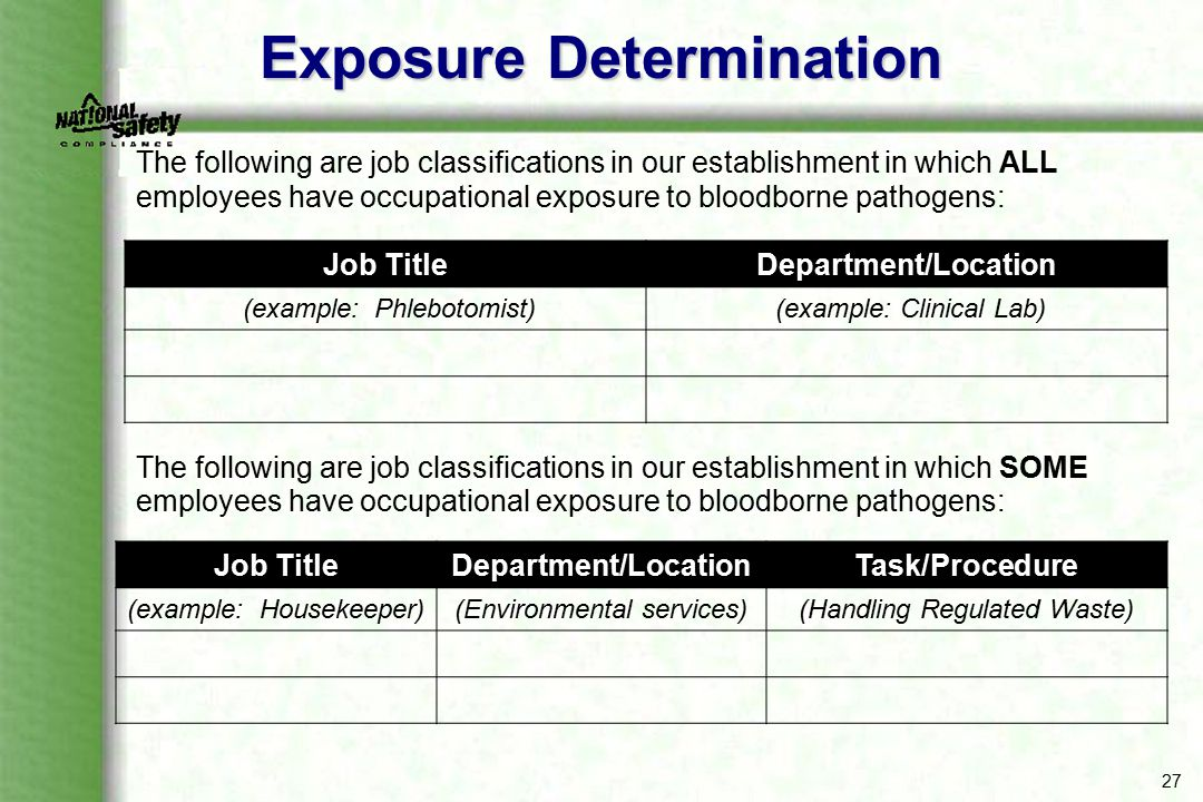 27 Exposure Determination The following are job classifications in our establishment in which ALL employees have occupational exposure to bloodborne p