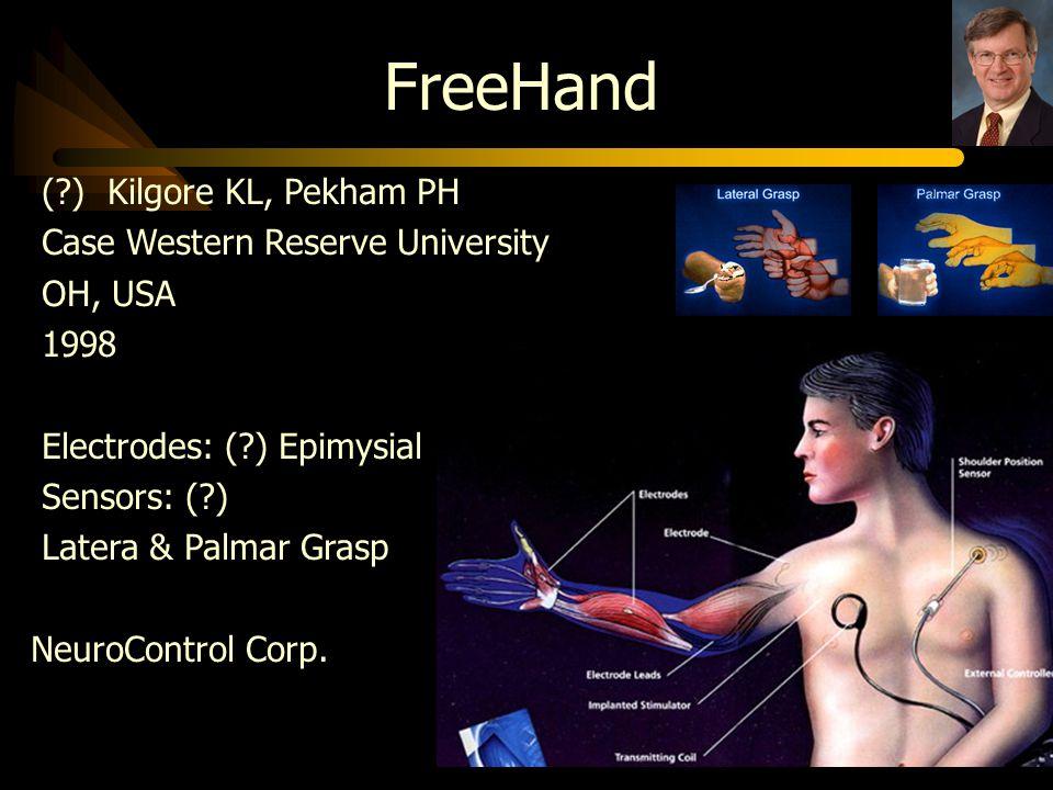 FreeHand (?) Kilgore KL, Pekham PH Case Western Reserve University OH, USA 1998 Electrodes: (?) Epimysial Sensors: (?) Latera & Palmar Grasp NeuroCont