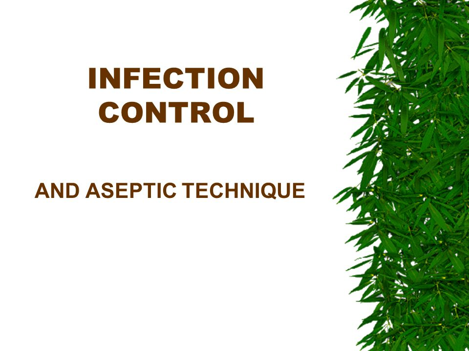 ASEPSIS AA state of being free from germs MMedical Asepsis - clean SSurgical Asepsis – sterile