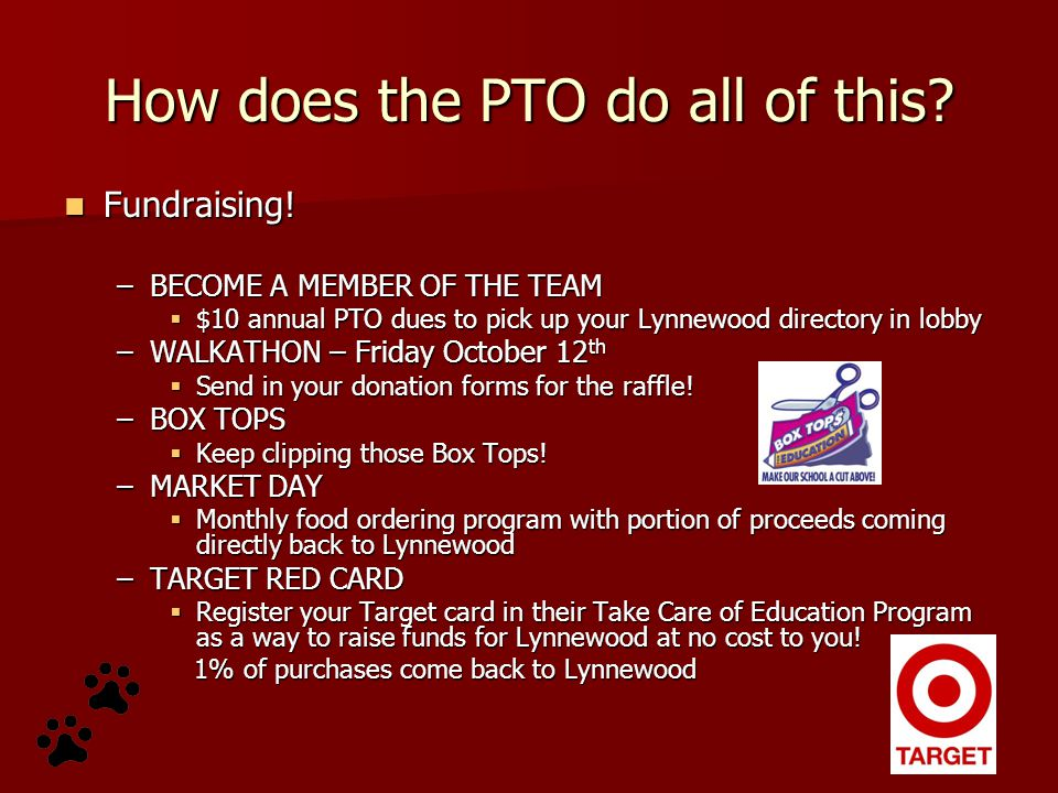 How does the PTO do all of this? Fundraising! Fundraising! –BECOME A MEMBER OF THE TEAM  $10 annual PTO dues to pick up your Lynnewood directory in l