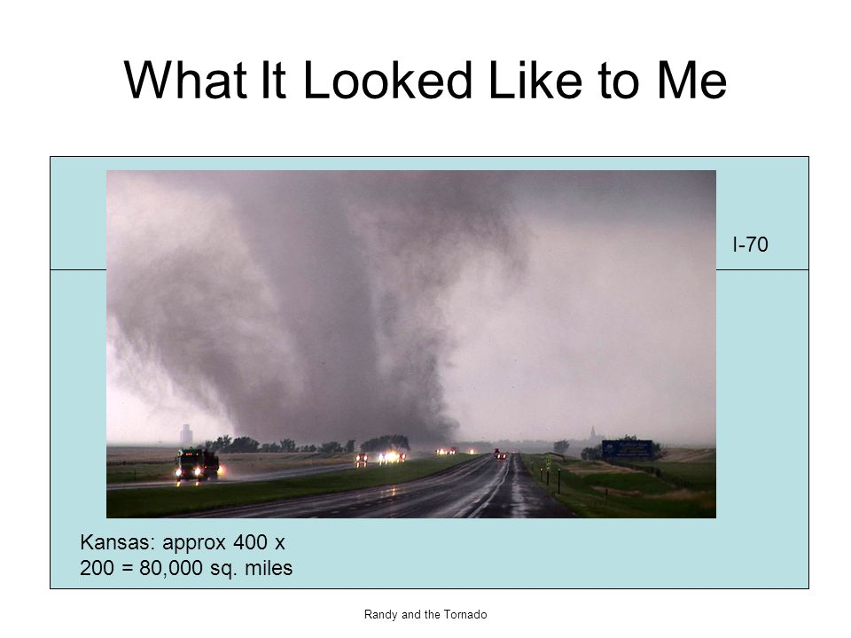 Randy and the Tornado Car/Tornado Paths Tornado Path I-70 East I-70 West Car Path