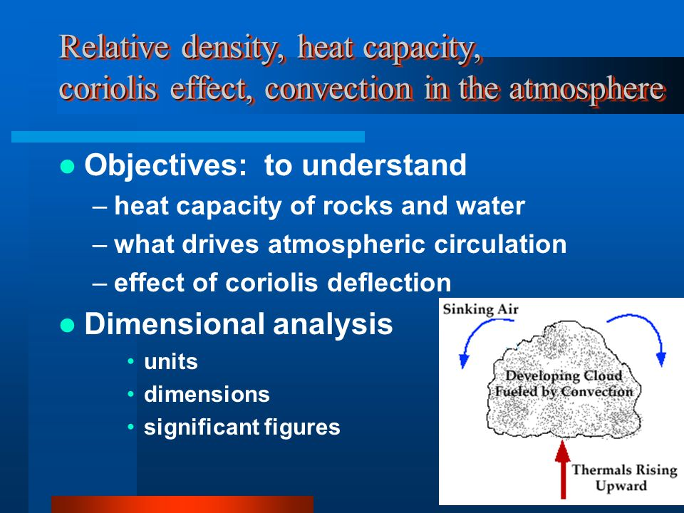 Relative density, heat capacity, coriolis effect, convection in the atmosphere Objectives: to understand –heat capacity of rocks and water –what drives atmospheric circulation –effect of coriolis deflection Dimensional analysis units dimensions significant figures