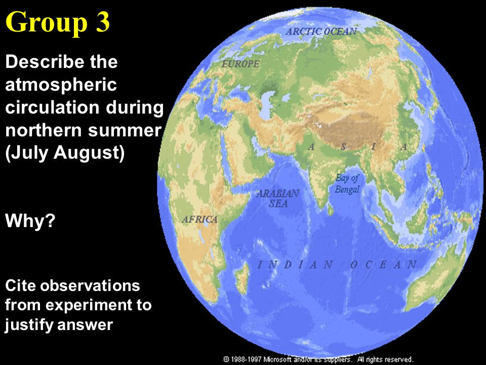 Group 3 Describe the atmospheric circulation during northern summer (July August) Why.