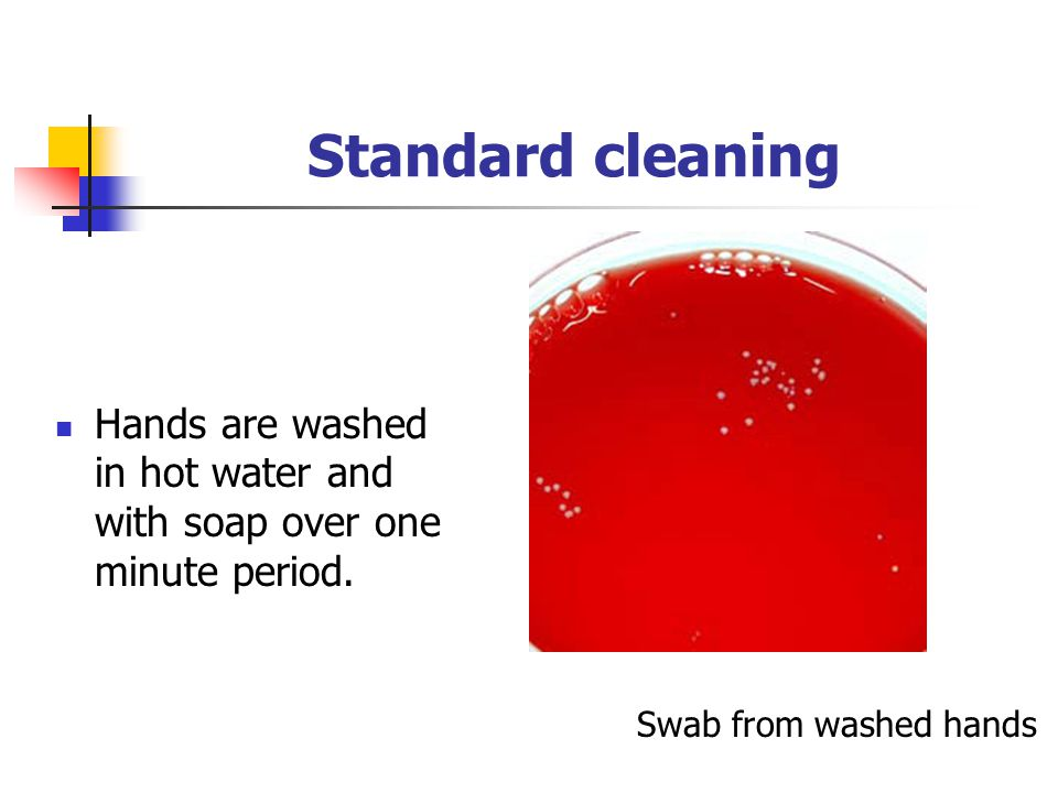 Standard cleaning Hands are washed in hot water and with soap over one minute period.