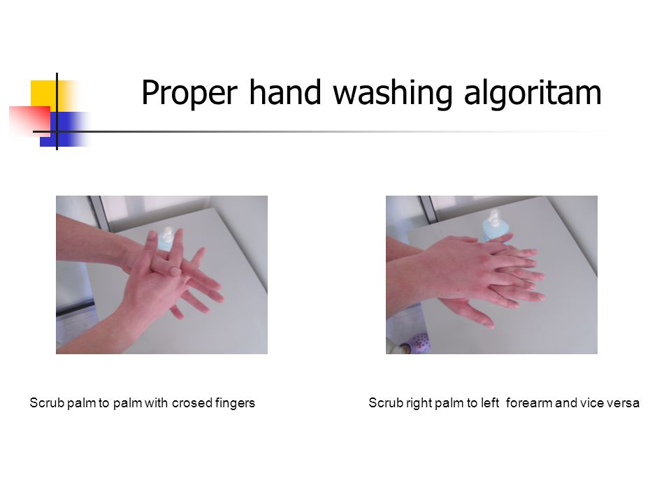 Hook the fingers of apposite hands with flexed fingers Dry for 20-30 seconds Proper hand washing algoritam