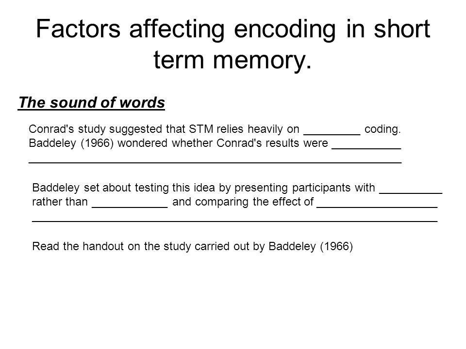 Factors affecting encoding in short term memory.
