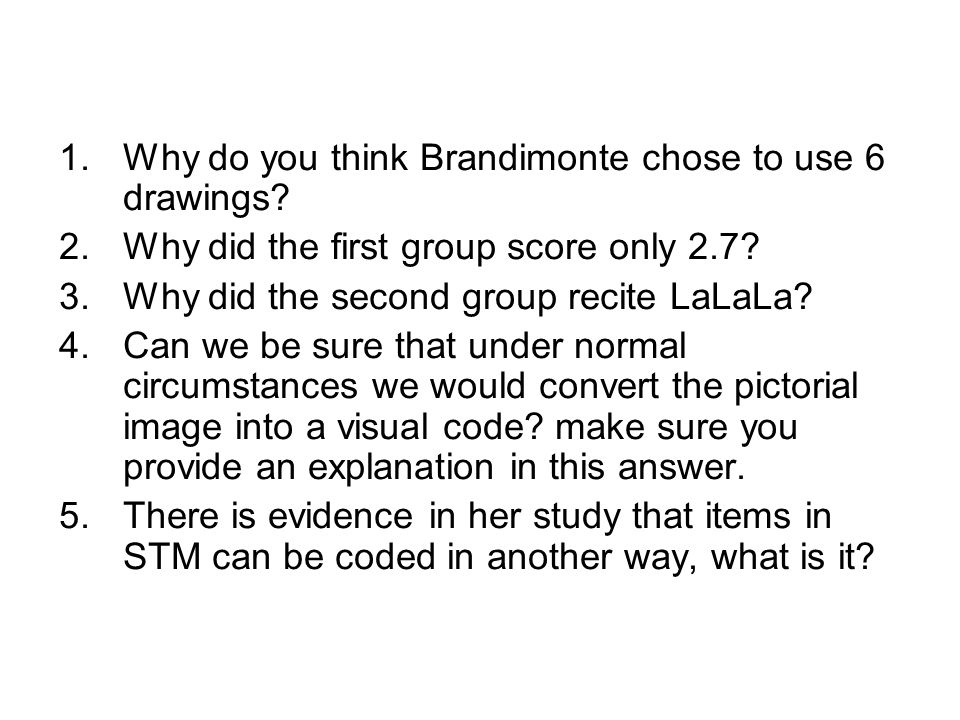 1.Why do you think Brandimonte chose to use 6 drawings.