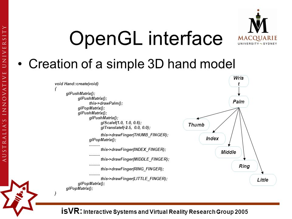 isVR: Interactive Systems and Virtual Reality Research Group 2005 OpenGL interface Creation of a simple 3D hand model void Hand::create(void) { glPushMatrix(); this->drawPalm(); glPopMatrix(); glPushMatrix(); glScalef(1.0, 1.0, 0.6); glTranslatef(-2.5, 0.0, 0.0); this->drawFinger(THUMB_FINGER); glPopMatrix();.........