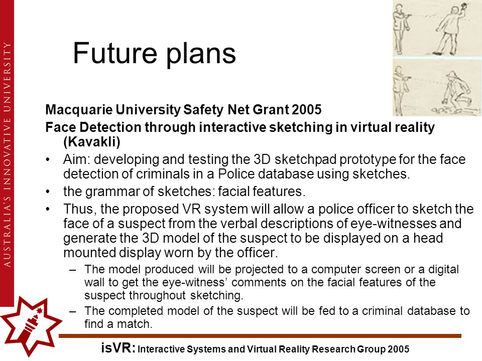 isVR: Interactive Systems and Virtual Reality Research Group 2005 Macquarie University Safety Net Grant 2005 Face Detection through interactive sketching in virtual reality (Kavakli) Aim: developing and testing the 3D sketchpad prototype for the face detection of criminals in a Police database using sketches.