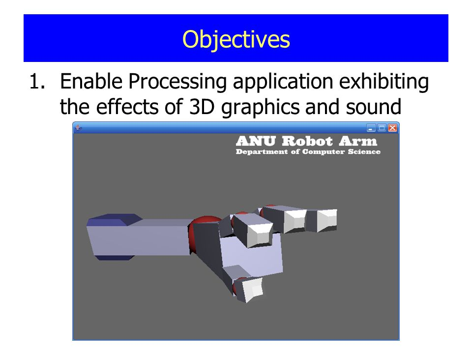 Objectives 1.Enable Processing application exhibiting the effects of 3D graphics and sound