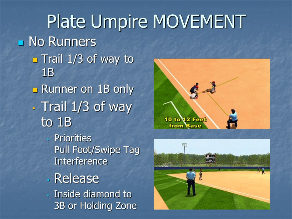 Plate Umpire MOVEMENT No Runners No Runners Trail 1/3 of way to 1B Trail 1/3 of way to 1B Runner on 1B only Runner on 1B only Trail 1/3 of way to 1B Trail 1/3 of way to 1B Priorities Pull Foot/Swipe Tag Interference Priorities Pull Foot/Swipe Tag Interference Release Release Inside diamond to 3B or Holding Zone Inside diamond to 3B or Holding Zone