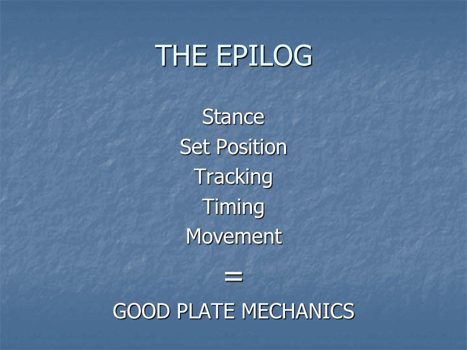 THE EPILOG Stance Set Position TrackingTimingMovement= GOOD PLATE MECHANICS
