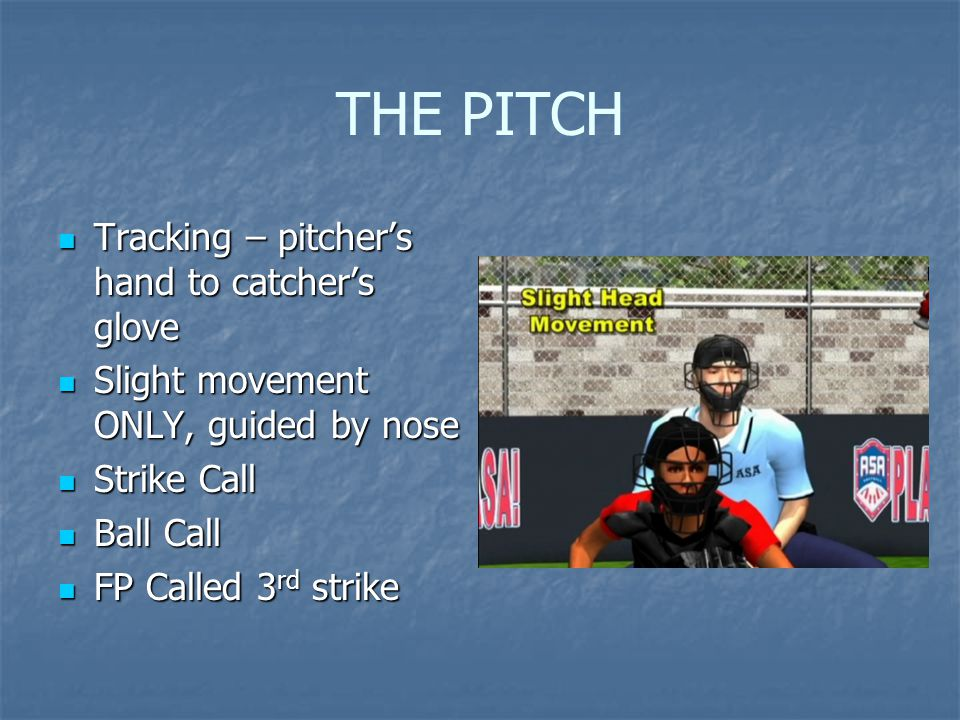 THE PITCH Tracking – pitcher's hand to catcher's glove Tracking – pitcher's hand to catcher's glove Slight movement ONLY, guided by nose Slight moveme