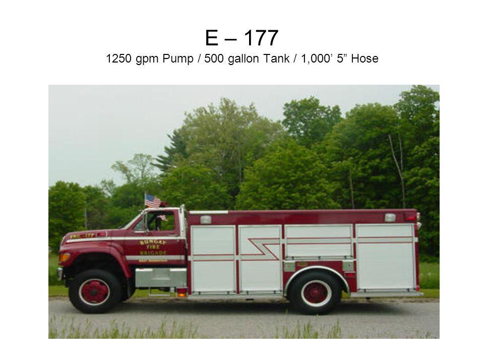 """E – 177 1250 gpm Pump / 500 gallon Tank / 1,000' 5"""" Hose"""