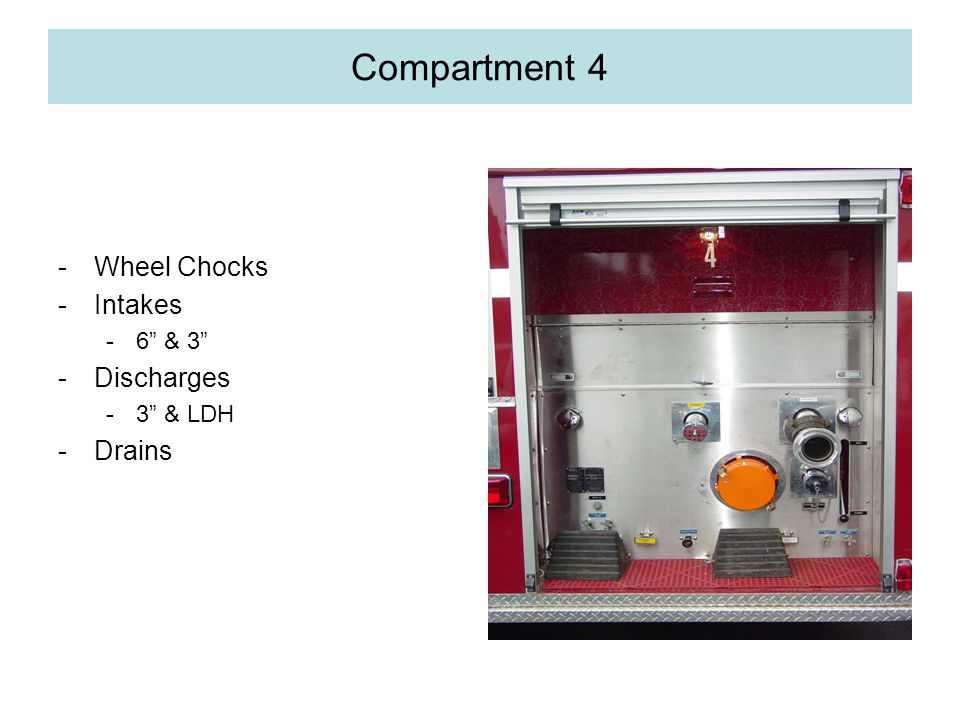 Compartment 4 -Wheel Chocks -Intakes -6 & 3 -Discharges -3 & LDH -Drains