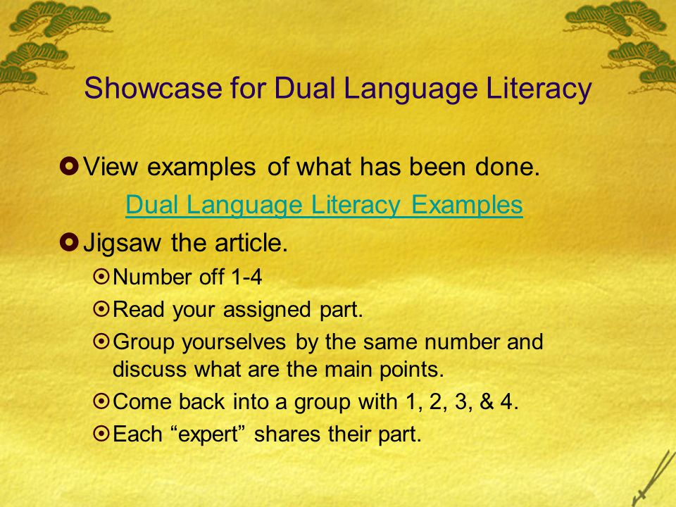 Showcase for Dual Language Literacy  View examples of what has been done.