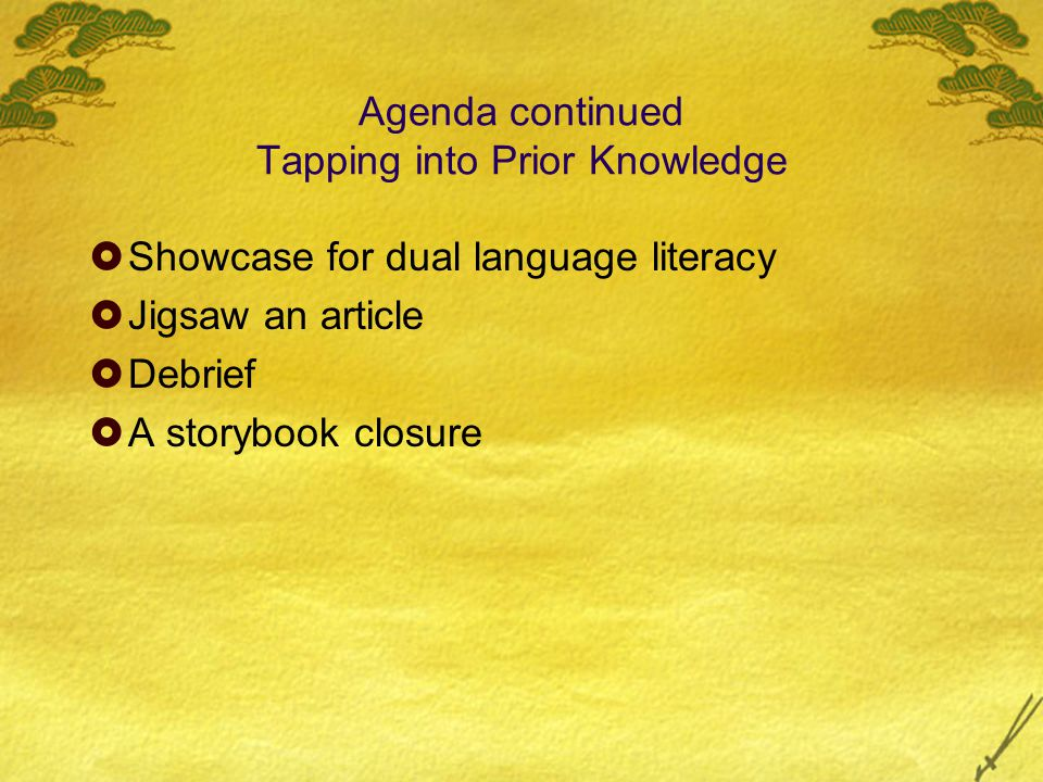 Agenda continued Tapping into Prior Knowledge  Showcase for dual language literacy  Jigsaw an article  Debrief  A storybook closure