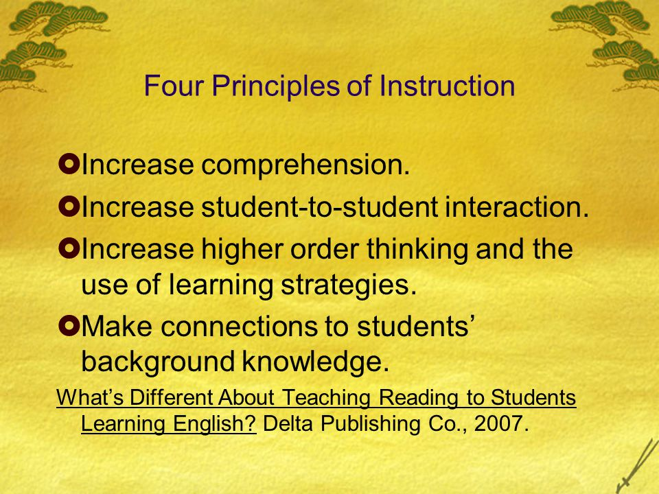Four Principles of Instruction  Increase comprehension.