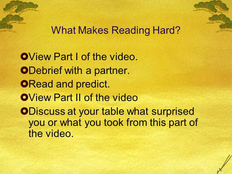 What Makes Reading Hard.  View Part I of the video.