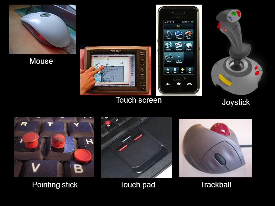 Pointing devices  Mouse  Touch screen  Joystick  Pointing stick  Touch pad  Trackball