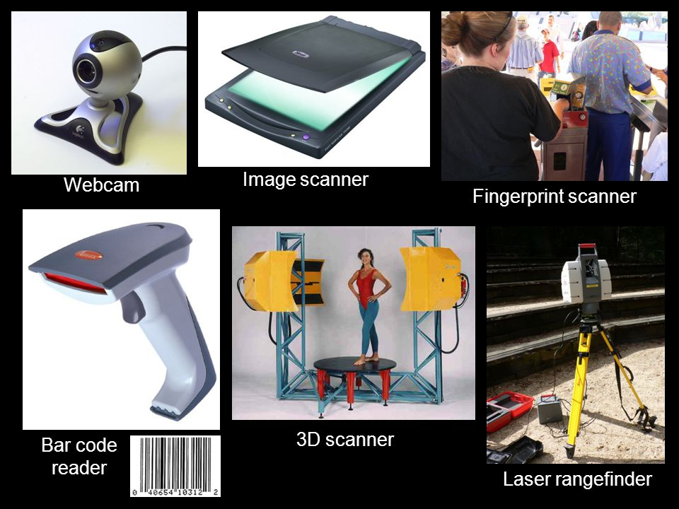 Imaging and Video input devices  Webcam  Image scanner  Fingerprint scanner  Barcode reader  3D scanner  Laser rangefinder