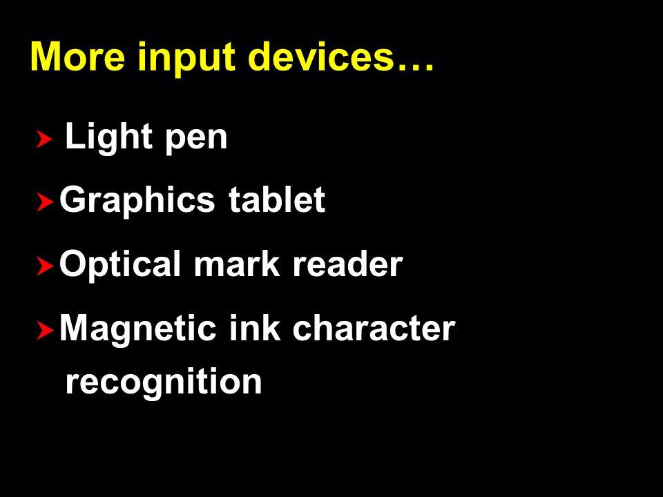 Webcam Image scanner Fingerprint scanner Bar code reader 3D scanner Laser rangefinder