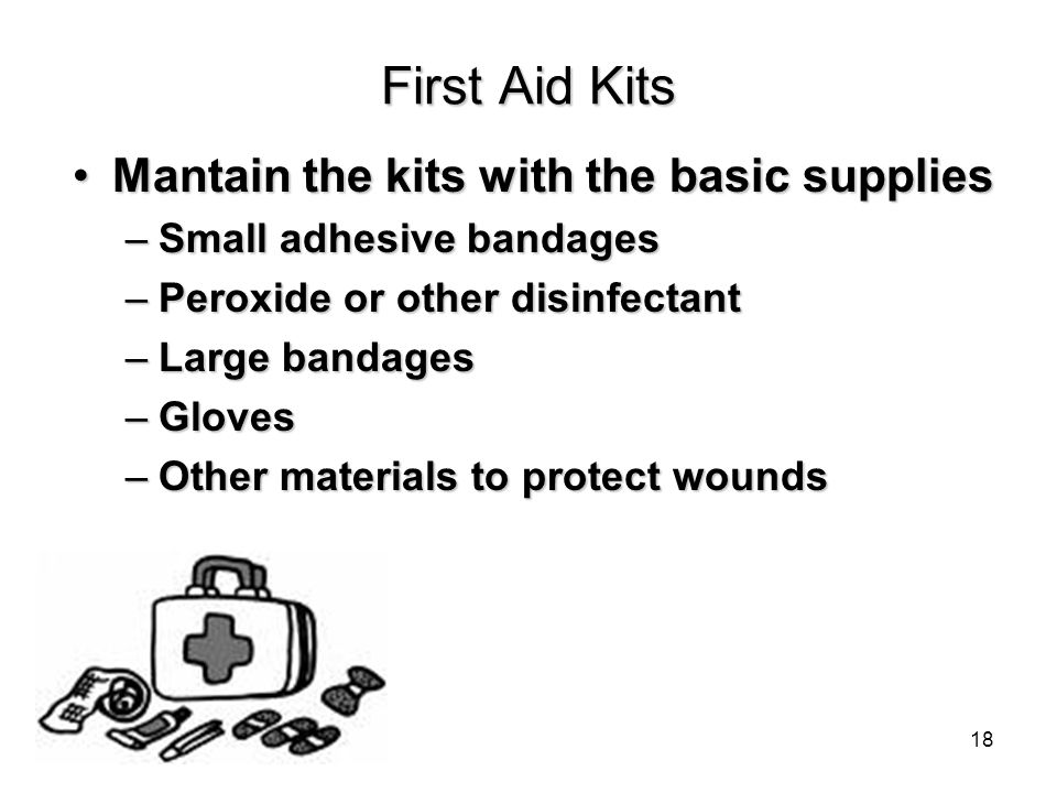 First Aid Kits Mantain the kits with the basic suppliesMantain the kits with the basic supplies –Small adhesive bandages –Peroxide or other disinfectant –Large bandages –Gloves –Other materials to protect wounds 18