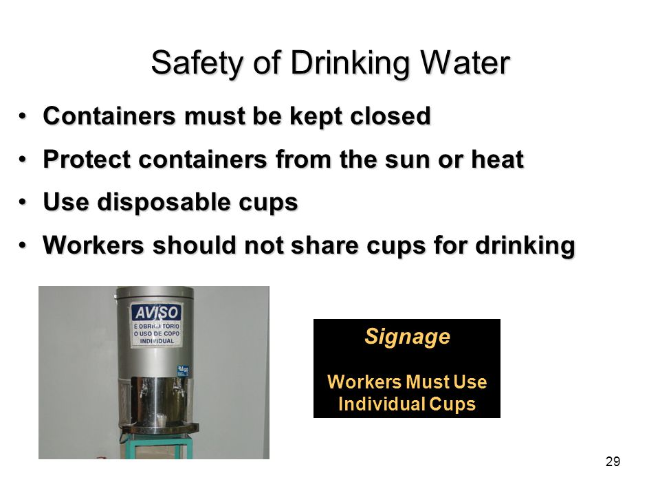 Containers must be kept closedContainers must be kept closed Protect containers from the sun or heatProtect containers from the sun or heat Use disposable cupsUse disposable cups Workers should not share cups for drinkingWorkers should not share cups for drinking Signage Workers Must Use Individual Cups Safety of Drinking Water 29