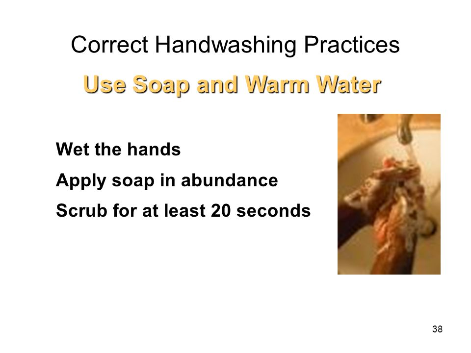 Correct Handwashing Practices 1.Wet the hands 2.Apply soap in abundance 3.Scrub for at least 20 seconds Use Soap and Warm Water 38