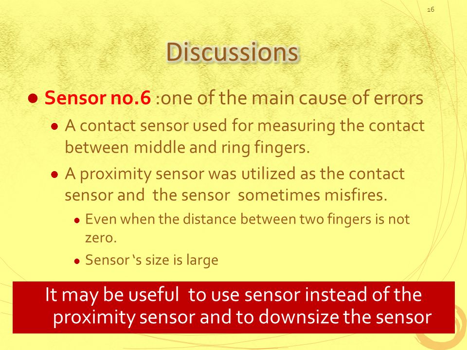 Sensor no.6 :one of the main cause of errors A contact sensor used for measuring the contact between middle and ring fingers.