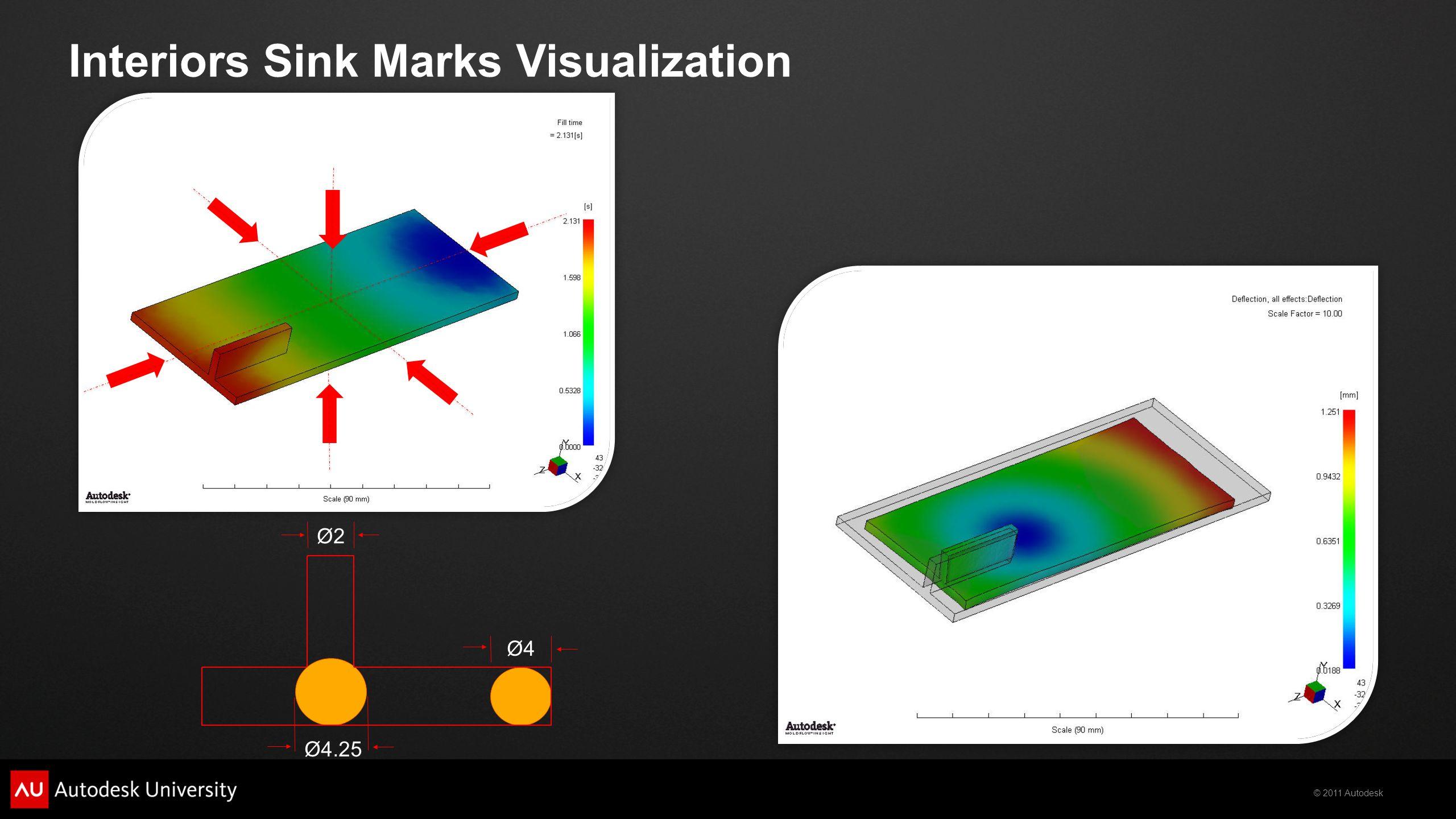 © 2011 Autodesk Interiors Sink Marks Visualization Ø2Ø2 Ø4Ø4 Ø4.25