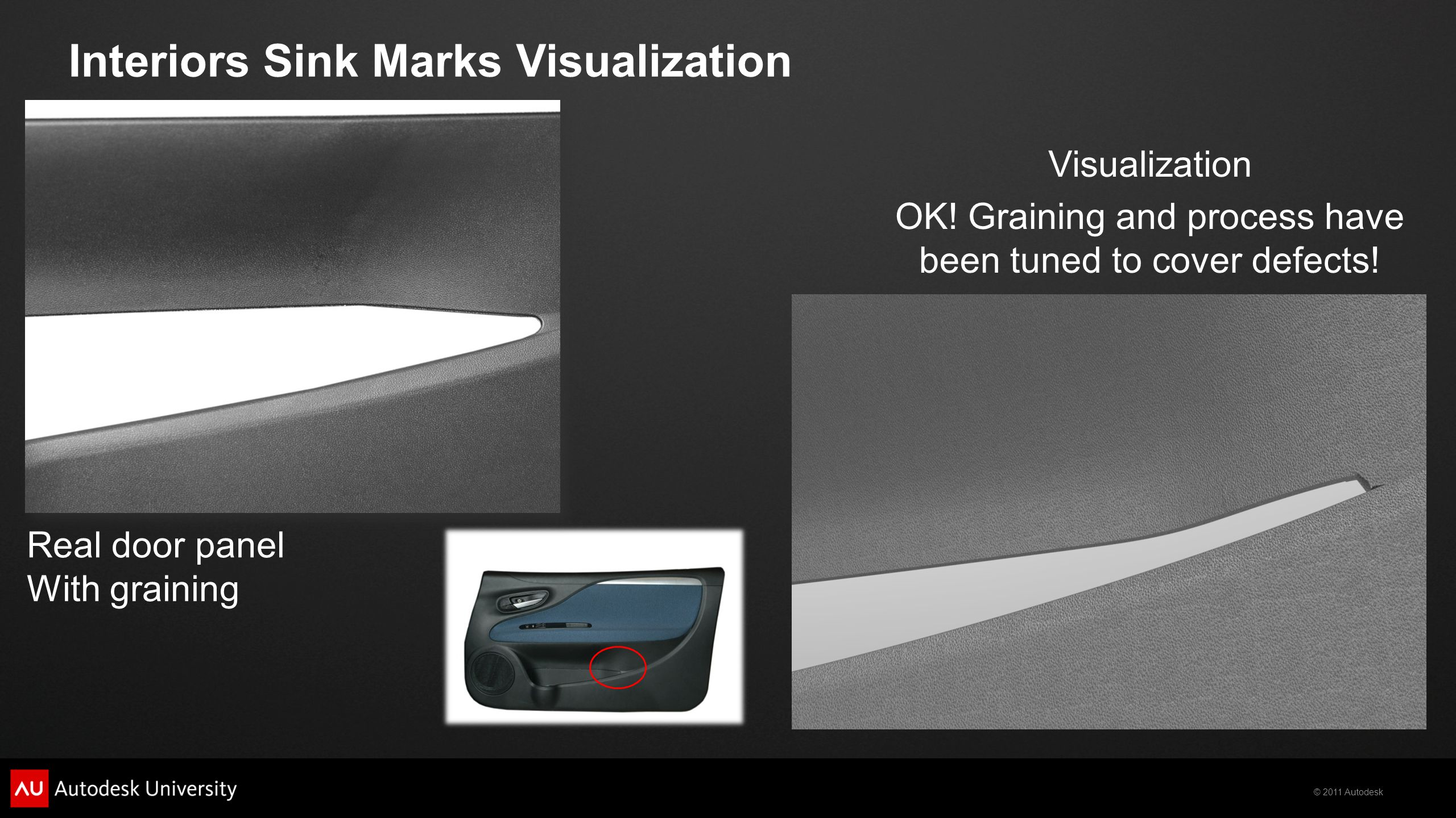 © 2011 Autodesk Visualization Real door panel With graining Interiors Sink Marks Visualization OK! Graining and process have been tuned to cover defec