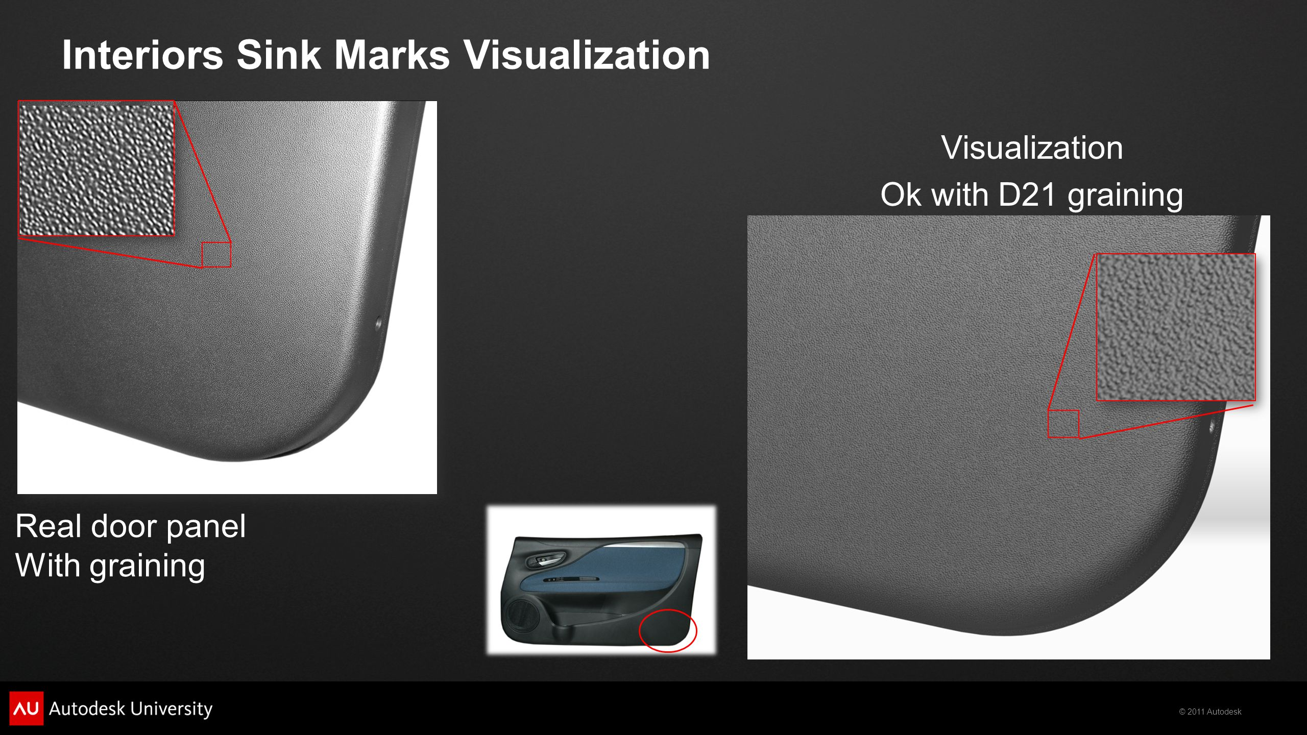 © 2011 Autodesk Visualization Real door panel With graining Interiors Sink Marks Visualization Ok with D21 graining