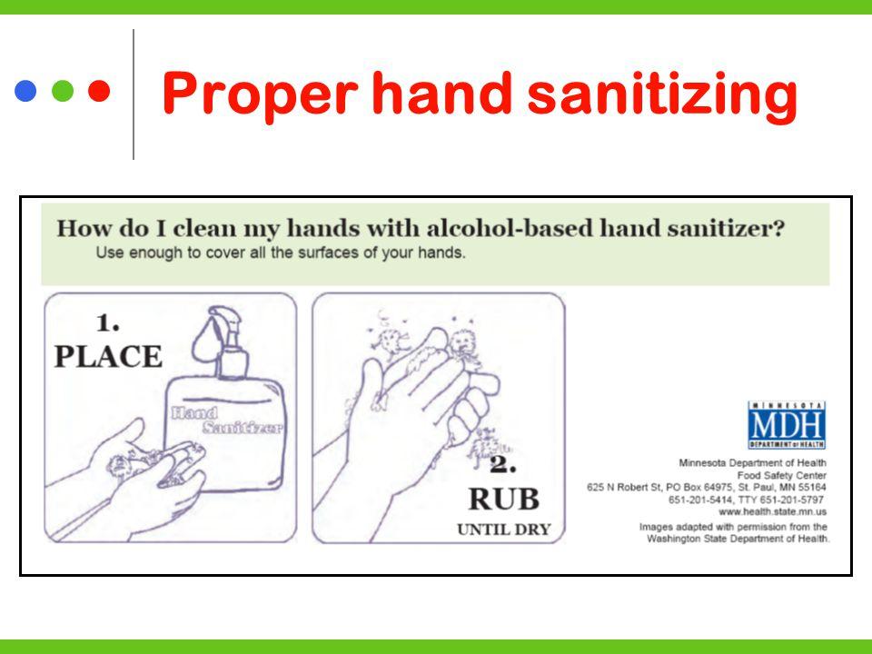 Proper hand sanitizing