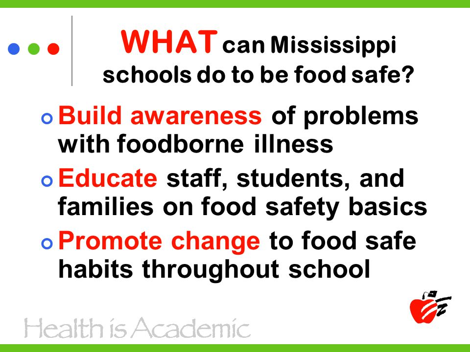 Build awareness of problems with foodborne illness Educate staff, students, and families on food safety basics Promote change to food safe habits throughout school