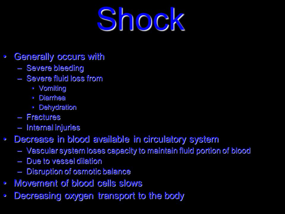 Shock Generally occurs withGenerally occurs with –Severe bleeding –Severe fluid loss from VomitingVomiting DiarrheaDiarrhea DehydrationDehydration –Fractures –Internal injuries Decrease in blood available in circulatory systemDecrease in blood available in circulatory system –Vascular system loses capacity to maintain fluid portion of blood –Due to vessel dilation –Disruption of osmotic balance Movement of blood cells slowsMovement of blood cells slows Decreasing oxygen transport to the bodyDecreasing oxygen transport to the body