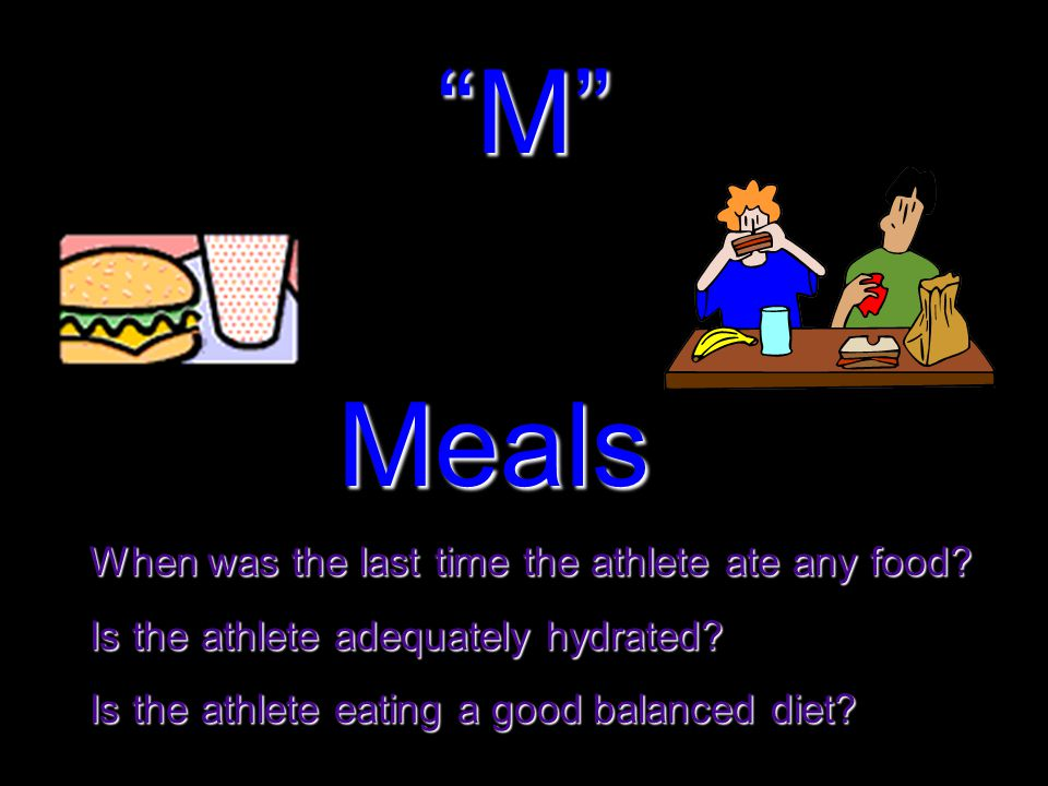 M When was the last time the athlete ate any food.