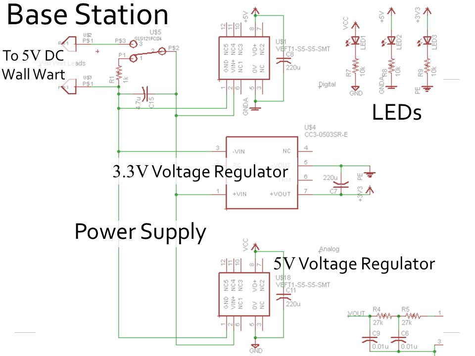Base Station Power Supply LEDs To 5V DC Wall Wart 3.3V Voltage Regulator 5V Voltage Regulator