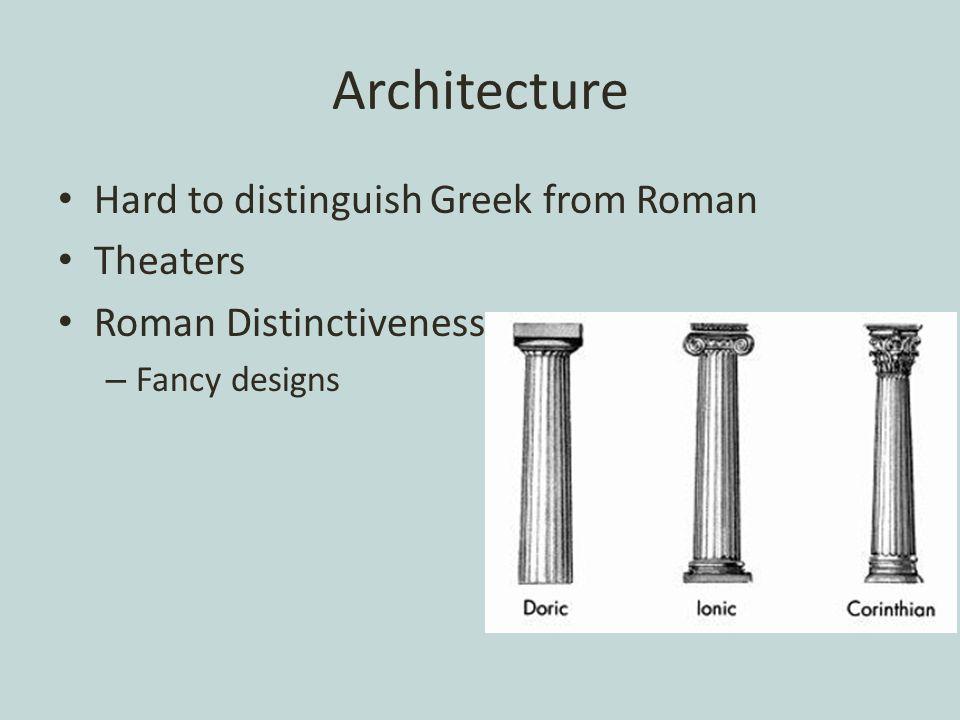Architecture Hard to distinguish Greek from Roman Theaters Roman Distinctiveness – Fancy designs