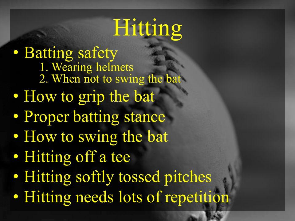 Hitting Batting safety 1. Wearing helmets 2.